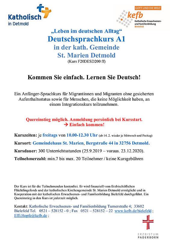 Deutschkurs für Tn ohne gesicherten Aufenthaltsstatus